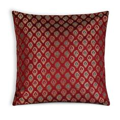 Red Teal and Gold Chanderi Silk Pillow Cover