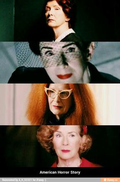 Frances Conroy over the seasons Moira O'Hara Angel Of Death Myrtle Snow Gloria Mott American Horror Story, American Pride, Moira O Hara, Frances Conroy, Anthology Series, Evan Peters, Angel Of Death, Fleetwood Mac, Stevie Nicks