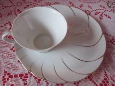 White with Gold Swirl  Snackor Breakfast Set with by MountainShine, $25.00