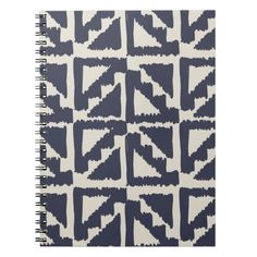 Navy Blue Ivory Tribal Print Ikat Triangle Pattern Note Book