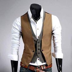 Gilet Veston Costume homme habille Fashion double effet Smart Marron