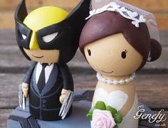 Cute Wolverine Superhero wedding cake topper  by GenefyPlayground