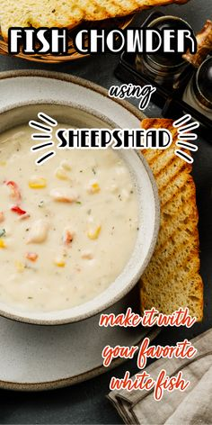 A seafood chowder that's easy to make and so creamy and tasty you'll think you're sipping on rich clam chowder. Spicy and hearty the fish chowder is one of our family's favorite. Have the fish soup for lunch in a large cup or a big bowl for dinner. You can make this ahead and it is so tasty that you'll want to serve it for company. #sheepsheadrecipe #fishchowder, #fishsoup #seafoodchowder