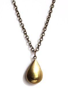 golden tear drop necklace