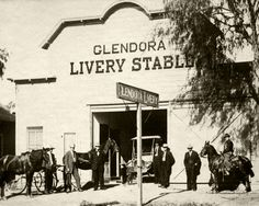 The Glendora Livery Stable was once located around 148 N Glendora Ave. Today, Classic Coffee occupies the site. Photo is probably from the early 1910s. (Bizarre Los Angeles)