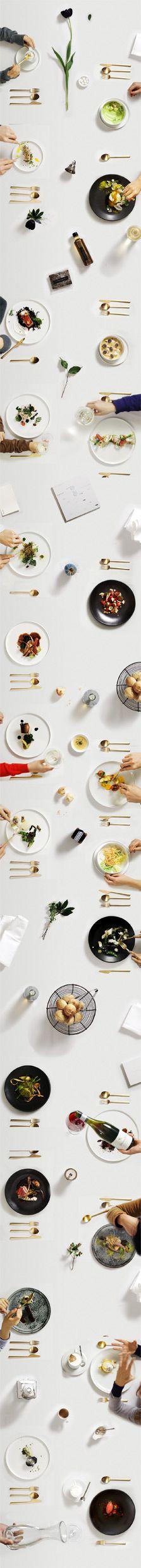 """L'idea per la scena """"didascalica"""" é quella di narrare una storia. In una breve striscia, attraverso pochi step, descrivere le fasi di una cena: il cliente ordina il cibo, lo consuma parzialmente e ne porta gli avanzi a casa, lasciando il tavolo pulito dai resti. 1: il cliente mangia il cibo ordinato; 2: il cliente lascia del cibo nel piatto; 3: il cibo prima avanzato nel piatto è rimpiattato nel doggy bag progettato; 4: tavolo sgombero da resti e doggy bag confezionato per essere portato…"""