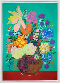 Floral on Teal No. x acrylic and oil stick on framed canvas, 2017 Botanical Art, Botanical Illustration, Floral Illustrations, Framed Canvas, Floral Prints, Art Floral, Folk Art, Artsy, Teal
