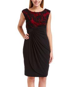 Look at this #zulilyfind! Black & Red Soutache Gathered-Waist Midi Dress - Women #zulilyfinds
