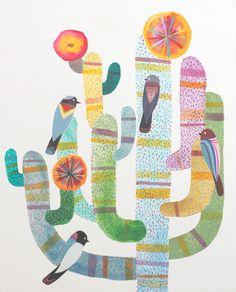 Gathering - art by Jason Smith - birds / nature / sonoran desert / southwest / Arizona / cactus / flowers / succulant / plant / organic