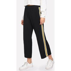 SheIn(sheinside) Contrast Striped Tape Side Wide Leg Pants (€13) ❤ liked on Polyvore featuring pants, black, stripe pants, wide leg cropped trousers, loose fit pants, wide leg pants and elastic waistband pants