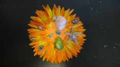 Flower Hair Clip Perfect for the Beach !! Orange and Yellow Accents Daisy with Seashells. Hawaii, Tiki, Summer, Pin up, Mermaid, OOAK!!!! by princessmadisonparis on Etsy