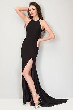 Long Prom Dresses 2016 Black Chiffon Halter