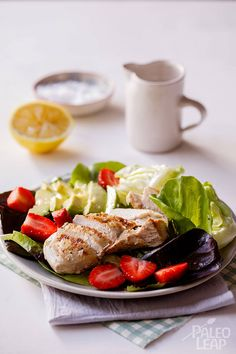 When strawberries are in season add them to everything! Strawberries in your smoothie and strawberries in your chicken salad for a delicious summer treat.