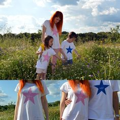 "Toda la familia combinada con camisetas iguales de la firma ""de charco en charco"". #blogmodainfantil #modainfantil Mother And Child, Children, Diy, Kids Fashion Blog, Block Prints, Custom T Shirts, Trends, Clothing, Fiestas"