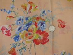 40s - 50s vintage floral print silk or rayon fabric, flowers on apricot peach