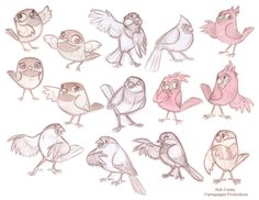 Preliminary designs of birds by chewgag.deviantart.com on @deviantART