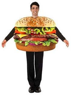 2020 Forum Men's Hamburger Costume and more Food Costumes for Men, Funny Costumes for Men, Men's Halloween Costumes for