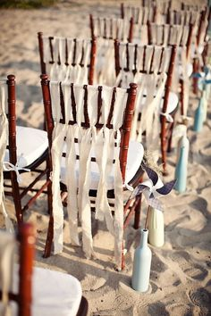 Beach wedding chair decor - Decorazioni sedie matrimonio in spiaggia