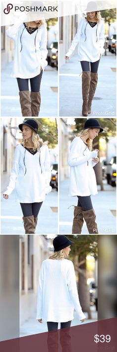 White ribbed long tunic with black contrast tie! Beauty in simplicity- lace up detail ribbed tunic ! A must have piece! Tops Tunics