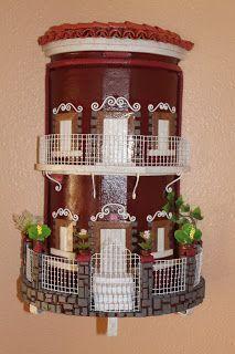 Teja peque a castillo figura ceramica madera textura - Tejas pequenas decoradas ...