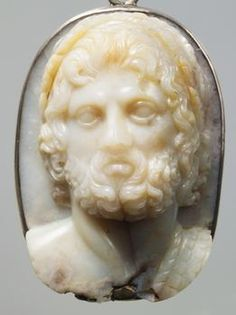 Cameo: Head of Jupiter  Roman, Early Empire  First Century AD  Chalcedon. Modern version: silver band.