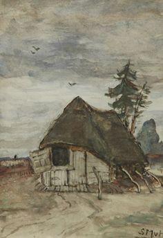 Sina 'Sientje' Mesdag-van Houten Groningen 1834-1909 Den Haag Schaapskooi in Drenthe, aquarel op papier 27.1 x 19 cm, gesigneerd r.o. met initialen
