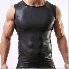 Leather Hip Hop Sleeveless Men's Fitness Tank Tops