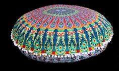 Round Mandala Pillow Cases 32  Floor Meditation Cushions Bohemian Ottoman Poufs | eBay