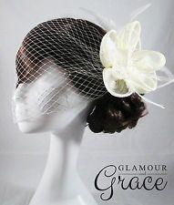 Emilie ivory fascinator headpiece birdcage veil wedding bridal vintage hair
