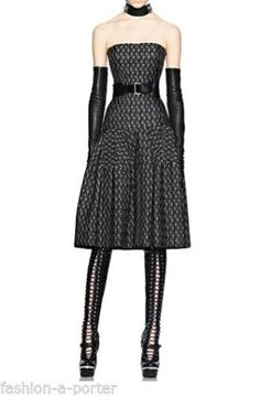 ALEXANDER-McQUEEN-BLACK-CROSS-JACQUARD-BUSTIER-DRESS-F-W-2011-UK-10-US-8-IT-42