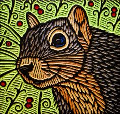 'Squirrel' painted woodcut block on salvaged Douglas Fir by Lisa Brawn