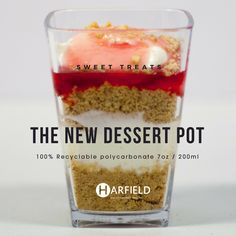 The New Dessert Pot – Sweet Treats. 100% Recyclable polycarbonate, Made in the UK, Stock immediately available. Crumbly biscuit base, vanilla cheesecake, strawberry jam.  Order yours now at https://www.harfieldtableware.co.uk/catalogsearch/result/?q=dessert+pot  #Stylishsavouries #Lowercarbonfootprint #environment #crumblybiscuitbase #vanillacheesecake #strawberryjam #dessertpot #polycarbonate #madeintheuk #stockavaliable #breakfast #lunch #dinner #dessert #snack #savouries