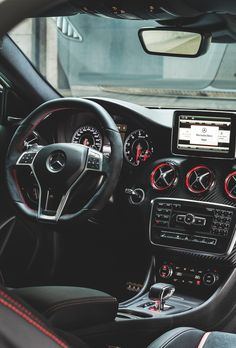 Amazing dashboard of Mercedes Benz A45 AMG #luxury #cars