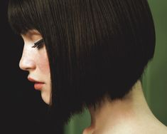 Classic bob shape with bangs