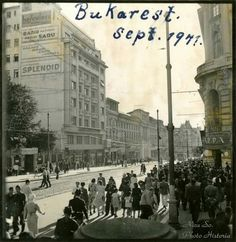 Bulevardul Elisabeta, Bucureşti -Septembrie 1941 Bucharest Romania, World War I, Time Travel, Louvre, Street View, Barbershop, Building, Traveling, Memories