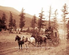 OLD WEST STAGECOACH VINTAGE PHOTO COWBOYS HORSES 1875.