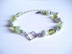 Light green bracelet with square hoop green beaded bracelet