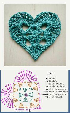 95 Aplicaciones crochet corazón