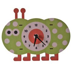 Caterpillar Clock. Fun natural birch wood clock with a cool 3D pop out effect - hangs on wall or sits on shelf.