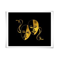 World map gold foil art print gold silver copper 36 colours3 theatre masks gold foil art print 36 colours3 sizes actor actress gift gumiabroncs Gallery