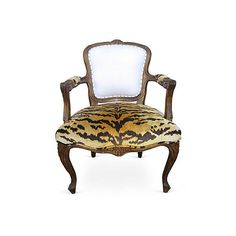 Pre-Owned 18th-C. French Armchair w/ Scalamandré ($2,795) ❤ liked on Polyvore featuring home, furniture, chairs, accent chairs, second hand chairs, secondhand furniture, french chair, french armchair and french accent chair