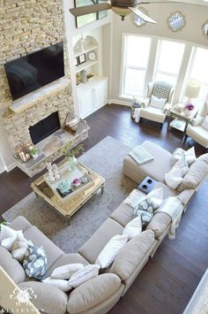 21 Ideas for the Living Room Kelley Nan: Spring Ready Cool Tone Living Room Tour Two-Story Neutral Living Room with Two-Story Windows in Family Room Versatile Gray by Sherwin Williams Living Room Furniture Layout, Living Room Sectional, Paint Colors For Living Room, Living Room With Fireplace, Gray Sectional, Gray Sofa, Dark Couch, Curved Sectional, Bedroom Furniture