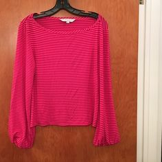Red and pink striped top Fun striped tee for jeans. Trina Turk Tops Tees - Long Sleeve