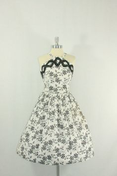 1950's Vintage Halter Dress  Black and White Full skirt frock by VintageFrocksOfFancy