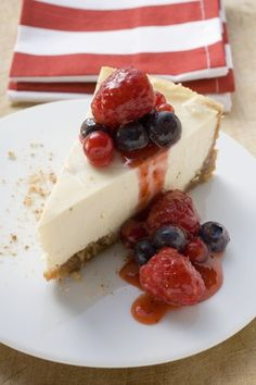 """This recipe should really be called """"cheesecake"""" because it doesn't contain any cream cheese at all. Instead, the main ingredient is healthy Greek yogurt, which is higher in protein and significantly lower in calories and fat. A slice of Junior's classic cheesecake is about 540 calories and 37 grams of fat, for instance. Our version is less than half the calories and contains only 10 grams of fat per serving. My family loves it!"""