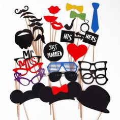 31 Photo Booth Props Moustache Lips on A Stick Wedding Christmas Birthday