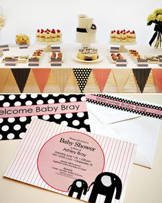 """""""modern elephants on parade"""" baby shower theme... from hostess with the mostess. love it!"""