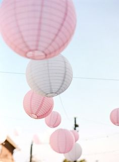 Pink paper lamps