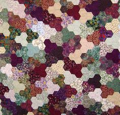 Hexies in groups of 3.  i love the randomness of these.
