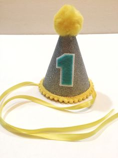 Yellow and Silver first birthday hat